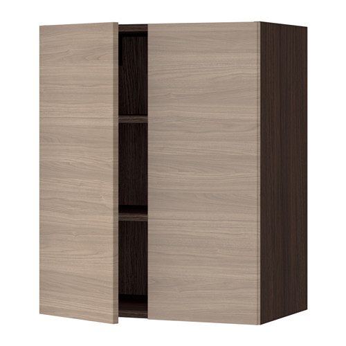 SEKTION Wall cabinet with 2 doors - wood effect brown, Brokhult walnut effect light gray, 24x15x30